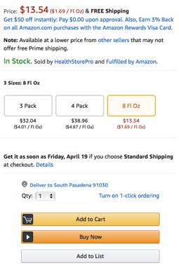 Amazon Buy Box example